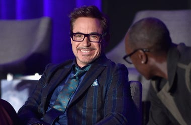 Robert Downey Jr. (L) and Don Cheadle speak onstage during Marvel Studios' 'Avengers: Endgame' Global Junket Press Conference at the InterContinental Los Angeles Downtown on April 7, 2019 in Los Angeles, California.
