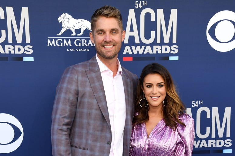 Brett Young and Taylor Mills attend the 54th Academy Of Country Music Awards at MGM Grand Garden Arena on April 07, 2019 in Las Vegas, Nevada.