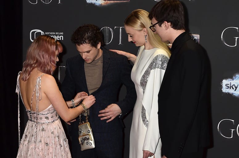 Maisie Williams, Kit Harington, Sophie Turner and Isaac Hempstead Wright attend the 'Game of Thrones' Season 8 screening at the Waterfront Hall on April 12, 2019 in Belfast, Northern Ireland.