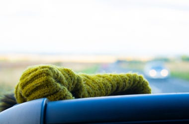 Wool hat in car