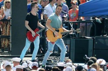 Jake Owen entertains the crowd before the start of the Daytona 500, at Daytona International Speedway, Sunday, February 17, 2019.