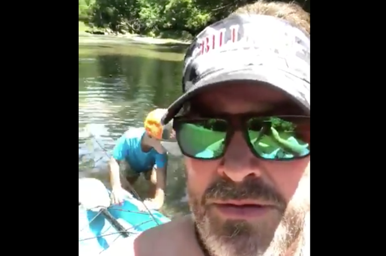 Lee Brice & his son fishing
