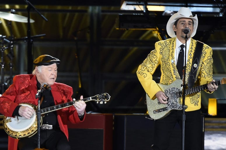 Roy Clark and Brad Paisley perform during the 50th Country Music Association Awards at Bridgestone Arena.