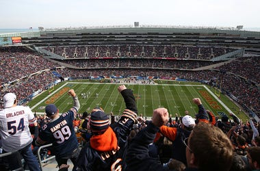 bears fan, chicago bears, solider field, stadium, football