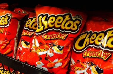 Cheetos, Mac and Cheese, 3 Flavors. Flamin' Hot, Cheesy Jalapeno, Grocery Stores, Shelves, Snack