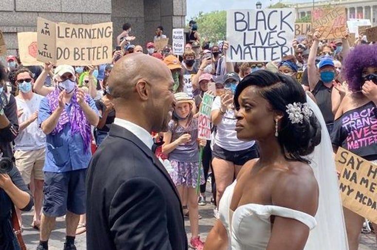 Couple, Married, Protest, Wedding, Philadelphia, Black Lives Matter