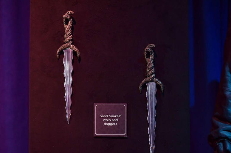 Sand Snakes' daggers can be seen on display at the Game Of Thrones: The Touring Exhibition press launch at Titanic Exhibition Centre on April 10, 2019 in Belfast, Northern Ireland.