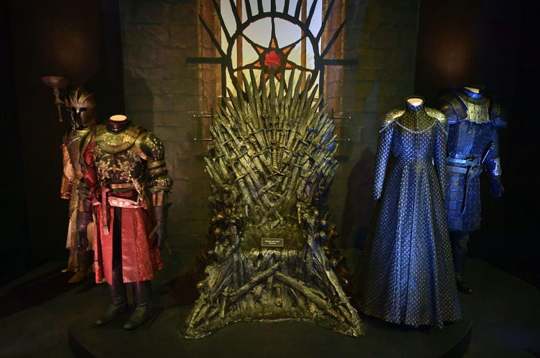 The Iron Throne room can be seen on display at the Game Of Thrones: The Touring Exhibition press launch at Titanic Exhibition Centre on April 10, 2019 in Belfast, Northern Ireland.