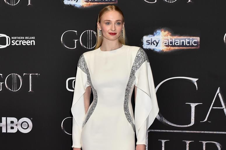 Sophie Turner attends the 'Game of Thrones' Season 8 screening at the Waterfront Hall on April 12, 2019 in Belfast, Northern Ireland.
