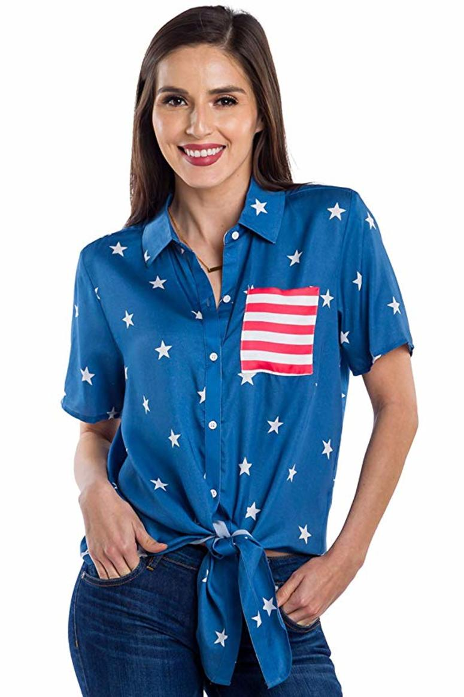 Blue spangled shirt