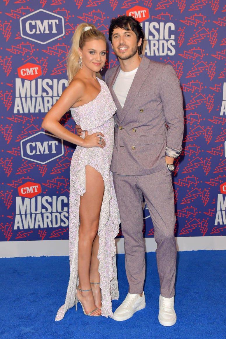 Kelsea Ballerini and Morgan Evans attend the 2019 CMT Music Awards at Bridgestone Arena on June 05, 2019 in Nashville, Tennessee