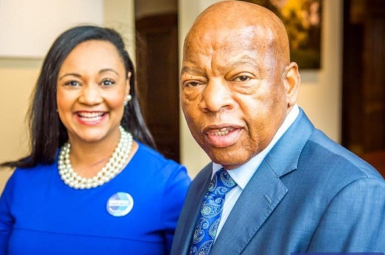 Georgia Democratic Party Chair Sen. Nikema Williams (l) will replace Rep John Lewis (r) on the ballot in November following his death