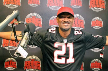 Big Tigger rocks a black Atlanta Falcons jersey in the V-103 broadcast studio