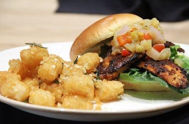Blackened catfish sandwich at Chicken + Beer