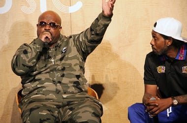 Goodie Mob's Ceelo Green speaks as Big Gipp looks on during A3C in Atlanta on October 4, 2018