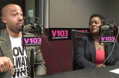 Charles Johnson and Dr. Fatu Forna discuss maternal mortality at V-103's Atlanta studios