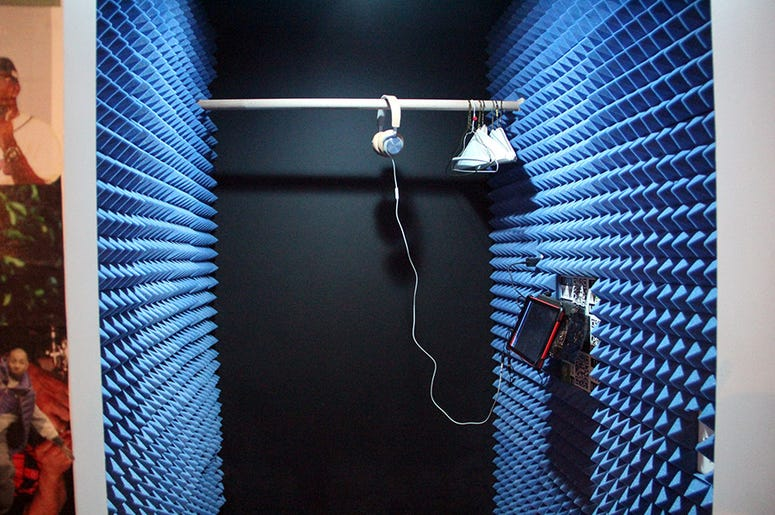 A model of a trap house closet turned into a recording booth inside T.I.'s Trap Music Museum in Atlanta