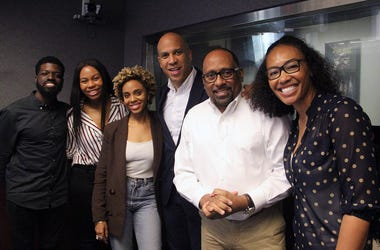 Senator Cory Booker visits The Morning Culture with Frank Ski, Jade Novah & JR in Atlanta on April 18, 2019