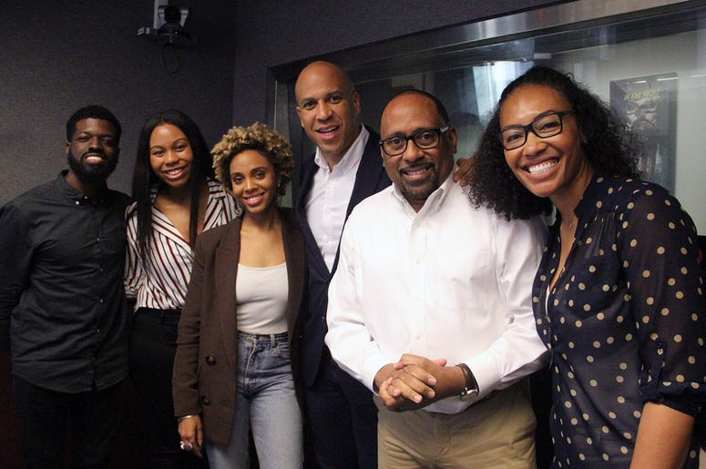 Senator Cory Booker visits The Morning Culture with Frank Ski, Jade Novah & JR in Atlanta on April 18, 2019
