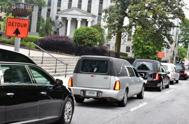 "Hearses from various Atlanta funeral homes were at the GA Capitol Thursday to protest ""reopening of Georgia"" during the COVID-19 pandemic"