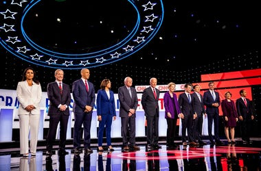 Democratic presidential candidates Hawaii Rep. Tulsi Gabbard, businessman Tom Steyer, New Jersey Sen. Corey Booker, California Sen. Kamala Harris, Vermont Sen. Bernie Sanders, former Vice President Joe Biden, Massachusetts Sen. Elizabeth Warren, South Ben