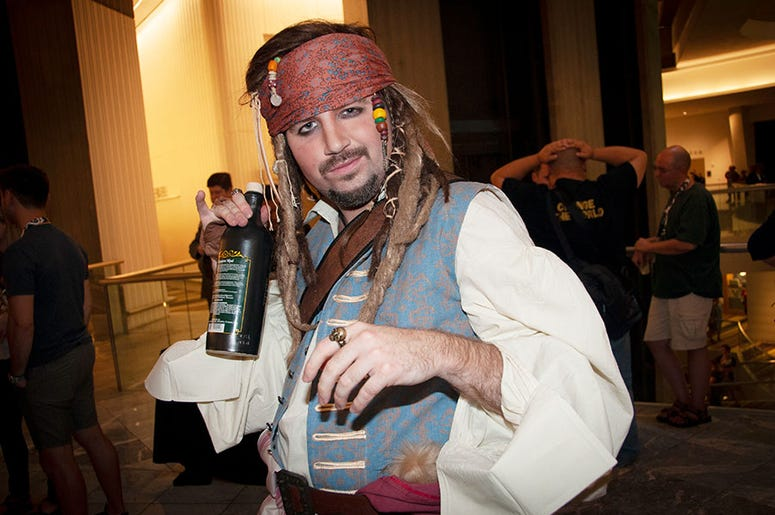 A Jack Sparrow cosplayer at Dragon Con