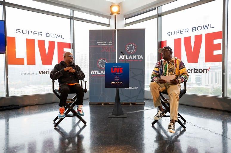 V103s Greg Street interviews Jermaine Dupri during the Super Bowl LIVE announcement