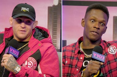 UFC fighters Dustin Poirier and Israel Adesanya appear on V-103's JR Sport Brief