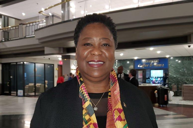 President Felicia Moore, shown at Lt Gov's Black History program at City Hall in February, says to Shutdown City and State Immediately over coronavirus