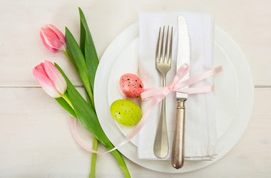 A plate awaits Easter brunch food
