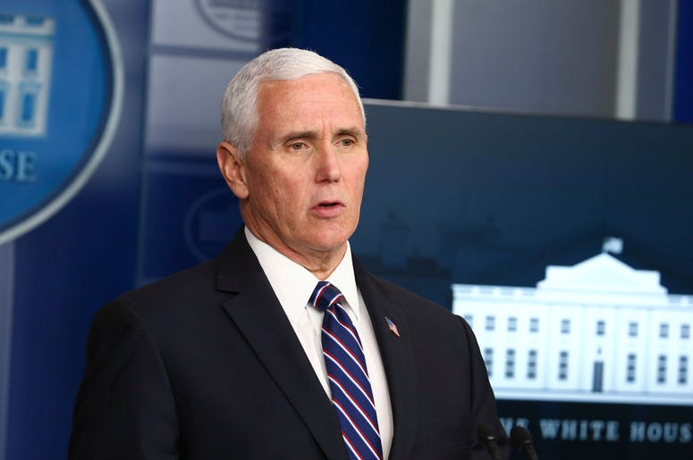 WASHINGTON, DC - APRIL 19: U.S. Vice President Mike Pence speaks at the daily coronavirus briefing at the White House on April 19, 2020 in Washington, DC.
