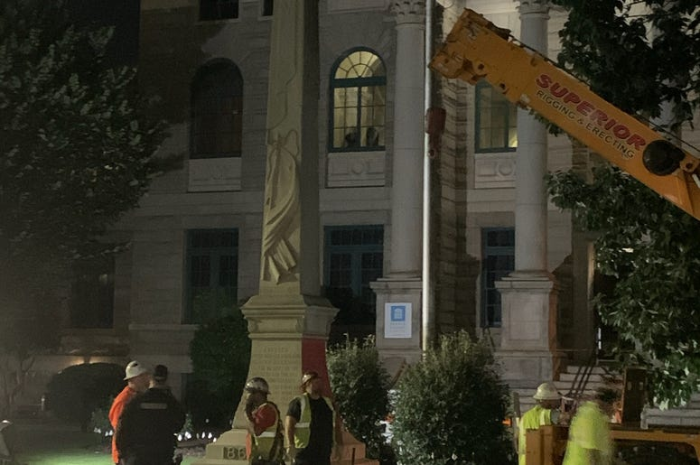 Crews assemble to begin removal of the Lost Cause Confederate monument in Decatur GA on June 18 2020
