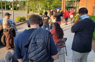 Residents wait to vote on the last day of early in person voting in Marietta GA.