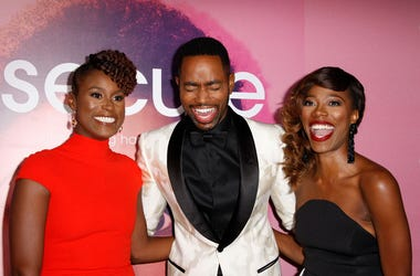 Issa Rae, Jay Ellis, and Yvonne Orji attend the series premiere of Insecure in 2016 in Los Angeles
