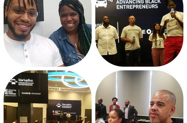 Atlanta business owners Donte Williams and Harriet Miller (top left) made their pitch as Chase Atlanta's Mark Adams (bottom right) looks on