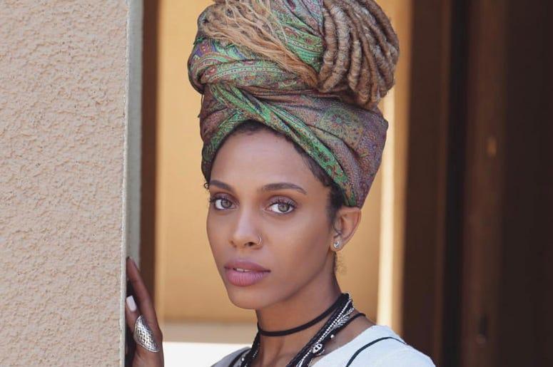 Jade Novah wearing a headwrap