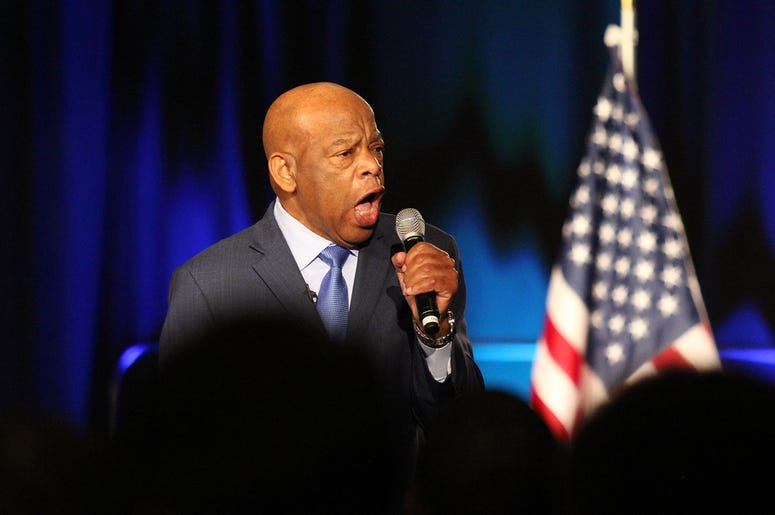 Representative John Lewis speaks at Stacey Abrams' election night campaign party