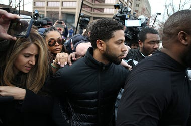 Jussie Smollet leaves court