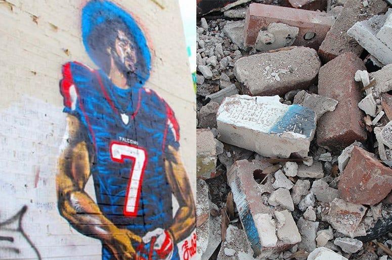 "The Colin Kaepernick ""Kaeplanta"" mural in Atlanta, before and after demolition on the Friday before Super Bowl 53"