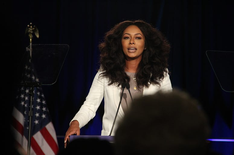 Singer/songwriter Keri Hilson speaks at Stacey Abrams' election night campaign party