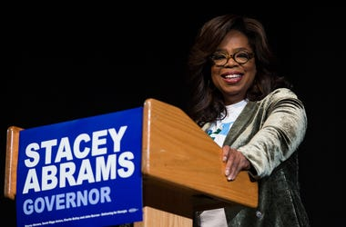 Oprah Winfrey talks to an audience about the importance of voting and her support of Georgia Democratic Gubernatorial candidate Stacey Abrams during a town hall style event at the Cobb Civic Center on November 1, 2018 in Marietta, Georgia.