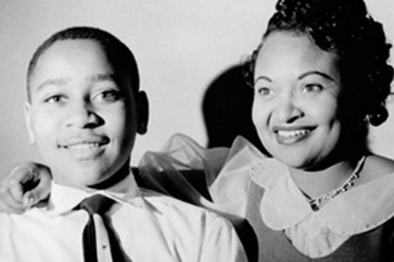 Emmett Till is shown with mother Mamie Till before his ill-fated trip to Mississippi where he was lynched by two white men.