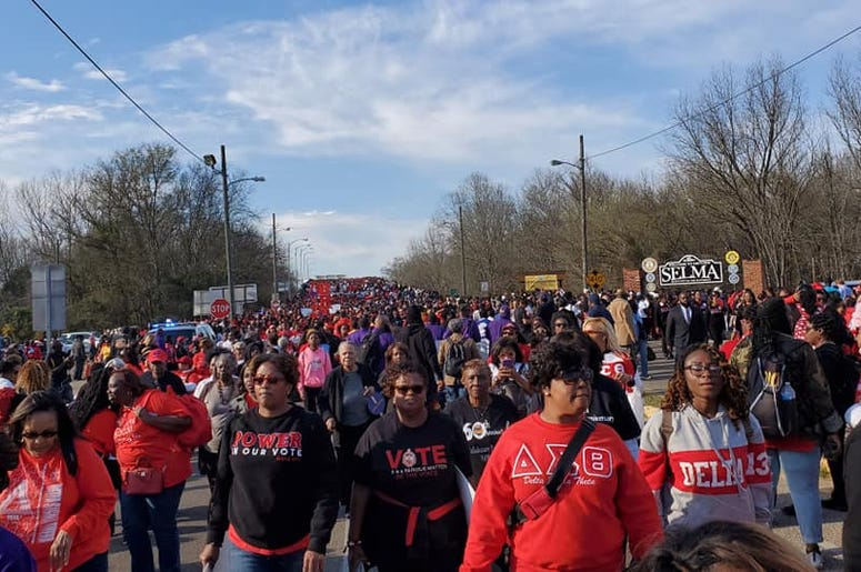 Many thousands traveled to Selma, Alabama to mark the 55th Anniversary of the Voting Rights Act and Bloody Sunday
