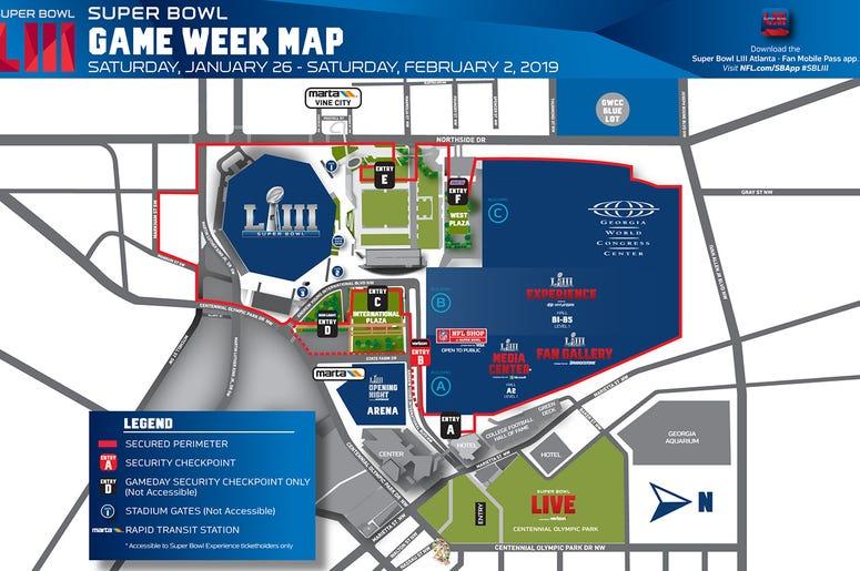 A map of Super Bowl 53 in Atlanta