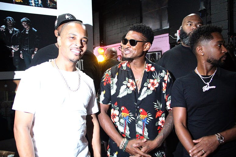 T.I., Usher and music producer Zaytoven at T.I.'s Trap Music Museum