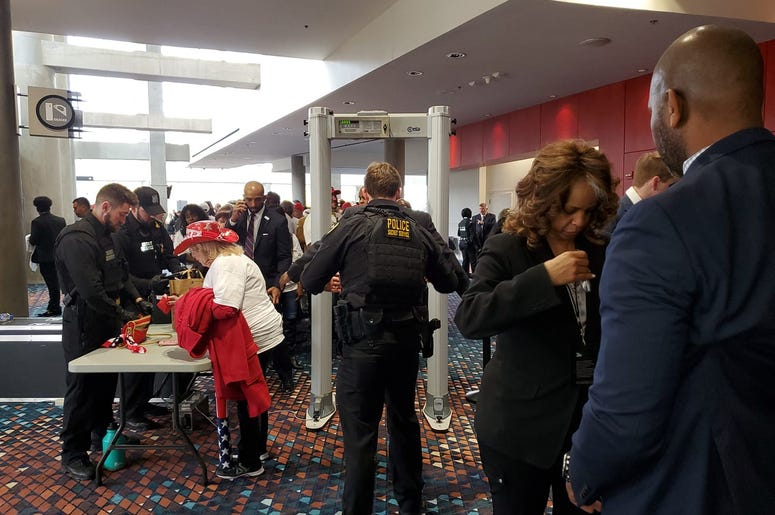 Trump supporters took their turn through security Friday for his Atlanta visit