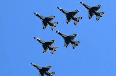 The Blue Angels and Thunderbirds flyover Atlanta Saturday to thank those fighting coronavirus