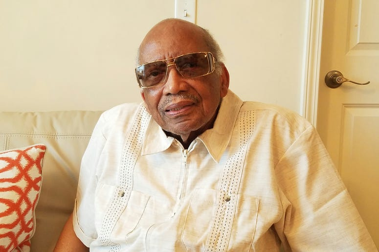 Former State Senator Leroy Johnson posed for our camera 3 years ago at his Atlanta home