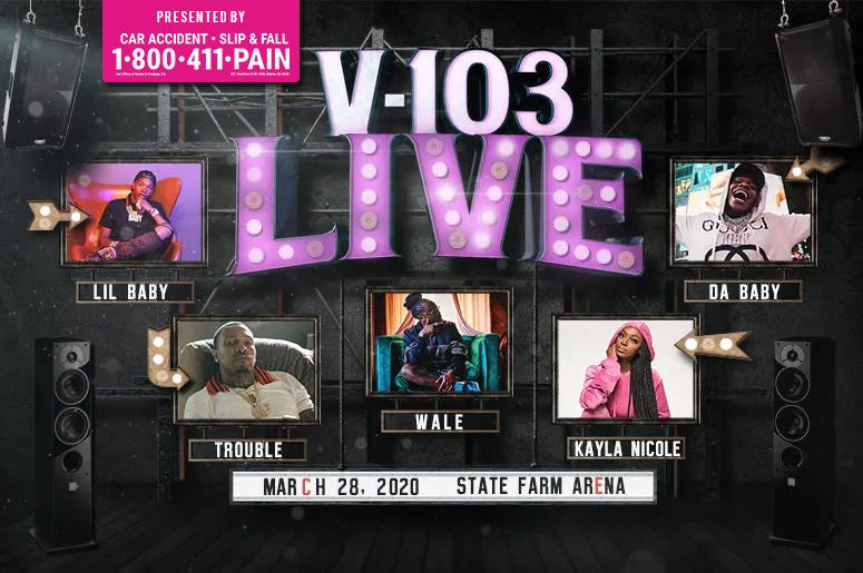 v-103 live Presented by V-103 & 1-800-411-PAIN