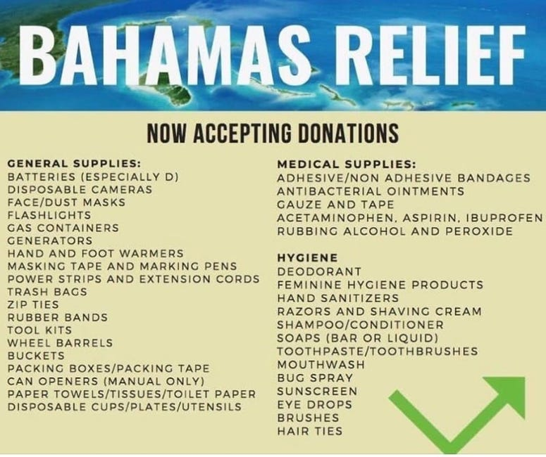 Items are being collected in Atlanta for the Bahamas